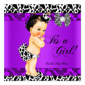 Leopard Cow Purple Girl Baby Shower Brunette Baby Card