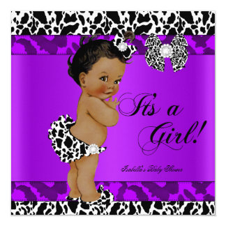 Leopard Cow Purple Girl Baby Shower Ethnic Card
