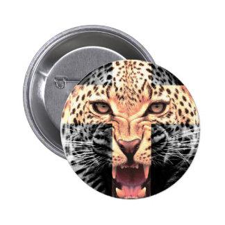 Leopard Cross Hipster 6 Cm Round Badge