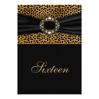 Leopard Diamond 16th Birthday Invite