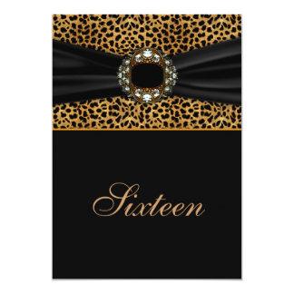 "Leopard Diamond 16th Birthday 5"" X 7"" Invitation Card"