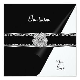 Leopard Diamond Jewel Black Bow Silver 13 Cm X 13 Cm Square Invitation Card