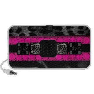 Leopard Diva Monogram Travelling Speakers