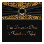 Leopard Diva Womans 50th  Birthday Party Custom Announcement