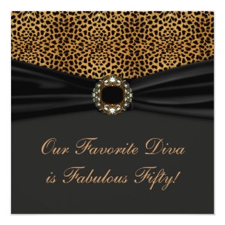 Leopard Diva Womans Fabulous 50th Birthday Party Card