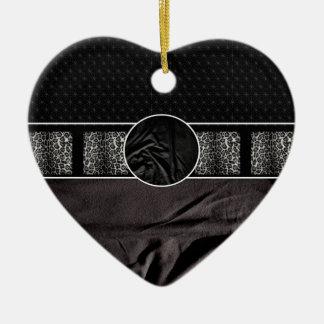 Leopard Fabric Monogram Ceramic Heart Decoration