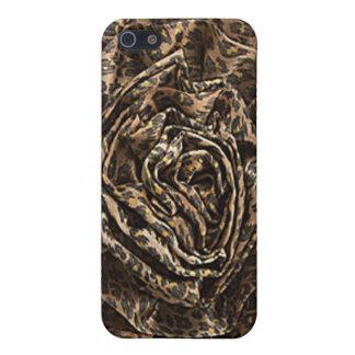 Leopard fabric rose faux IPhone 4 case