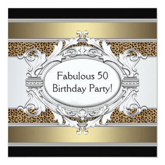 """Leopard Fabulous 50th Womans 50th Birthday Party 5.25"""" Square Invitation Card"""