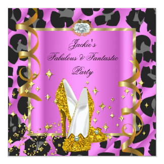 Leopard Fabulous Pink Woman's Birthday Party 13 Cm X 13 Cm Square Invitation Card