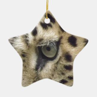 Leopard Face Ceramic Star Decoration