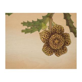 leopard flower wood print