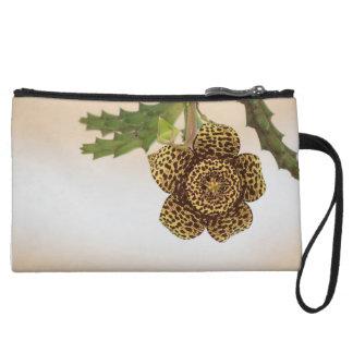 leopard flower wristlet