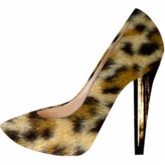 Leopard Fur Print High Heel Shoe Fashion Keychain Photo Sculpture Key Ring