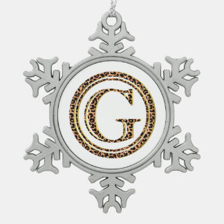 leopard G Pewter Snowflake Decoration