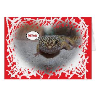 Leopard Gecko Lizard Winking Valentines Card
