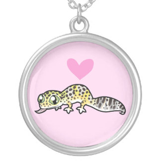 Leopard Gecko Love Silver Plated Necklace