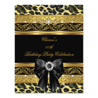 Leopard Gold Birthday Party Elegant Diamond Black Card