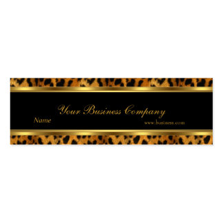 Leopard Gold Black Stripe Elegant Classy Skinny Double-Sided Mini Business Cards (Pack Of 20)