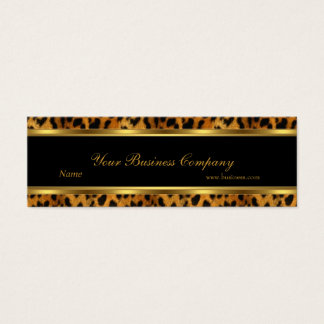Leopard Gold Black Stripe Elegant Classy Skinny Mini Business Card