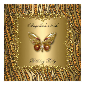 Leopard Gold Butterfly Birthday Party 50th 13 Cm X 13 Cm Square Invitation Card