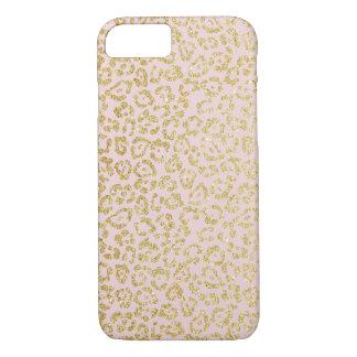 Leopard Gold Glitter Pattern Modern Blush Pink iPhone 8/7 Case