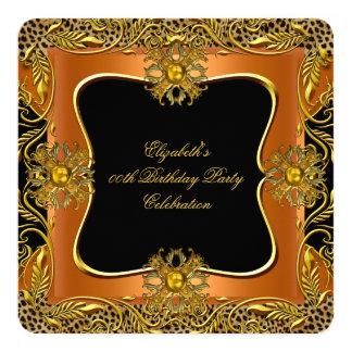 Leopard Gold Jewel Orange Black Birthday Party 13 Cm X 13 Cm Square Invitation Card