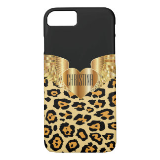Leopard Gold Wings Heart Custom Electronics Case