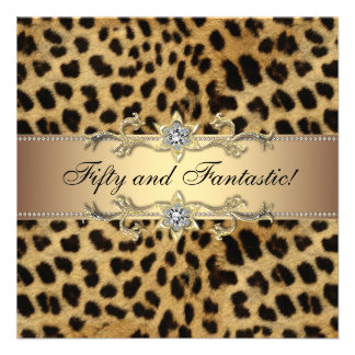 Leopard Gold Womans 50th Birthday Party Personalized Announcement