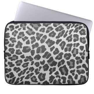 Leopard Gray and Light Gray Print Laptop Sleeve