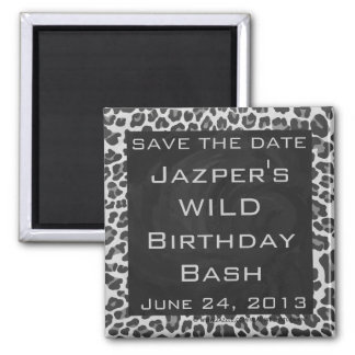Leopard Gray and Light Gray Print Square Magnet