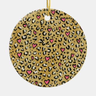Leopard heart / leopard animal print pink heart christmas ornament
