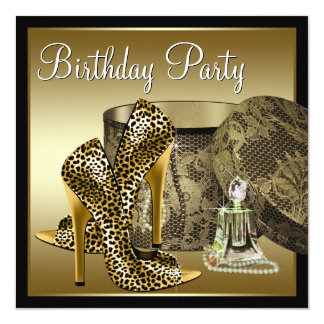 Leopard High Heel Shoes Black Gold Womans Birthday Card