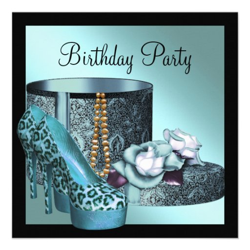 Leopard High Heel Womans Teal Blue Birthday Party Personalized Announcements
