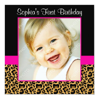 Leopard Hot Pink Girls Photo 1st Birthday Party 13 Cm X 13 Cm Square Invitation Card
