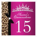 leopard hot pink Quinceanera Invitations