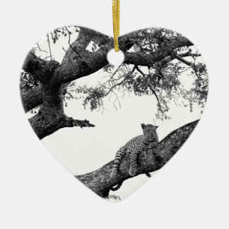 Leopard in a tree christmas ornament