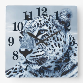 Leopard in Black and White Square Wall Clock