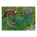 Leopard in Central American Jungle Print