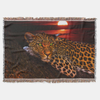 Leopard In Moonlight Throw Blanket