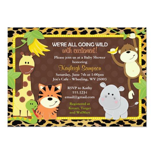 Leopard Jungle Friends Baby Shower Invitations