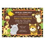 Leopard Jungle Friends Orange Baby Shower Invitati Invitation