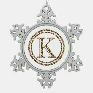 Leopard K Snowflake Pewter Christmas Ornament