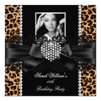 Leopard Lace Diamond Heart Photo Birthday Party Card
