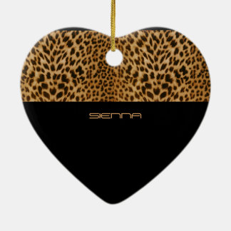 Leopard Look Ceramic Heart Ceramic Heart Decoration