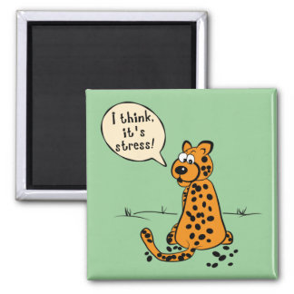Leopard losing spots - I think it's stress Square Magnet