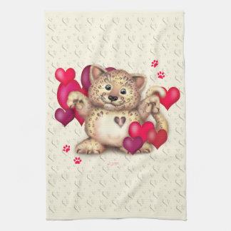 LEOPARD LOVE Linen with crockery Tea Towel