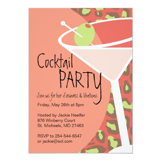 Leopard Martini Invitations