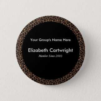 Leopard Name Tag 6 Cm Round Badge