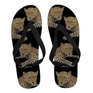 Leopard on black Flip Flops men s