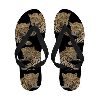 Leopard on black Flip Flops women s